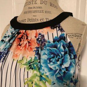 Worthington brand black/white stripe floral top